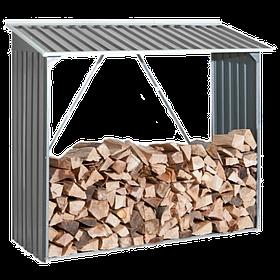 Накриття для дров металеве сірий з білим