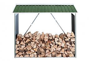Накриття для дров металеве зелений з білим