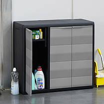 Шкаф низкий 3-х дверный Elegance S Toomax черный серый, фото 3
