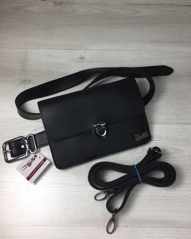 85833ed91aeb Черная сумка-клатч на пояс 604 маленькая молодежная через плечо, фото 1