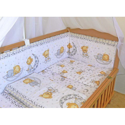 Комплект постельного белья в детскую кроватку Мишка в пижаме серый из 3-х элементов