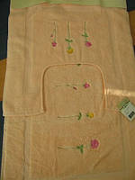 Набор ковриков для ванной комнаты Emily 2 пред. персиковый