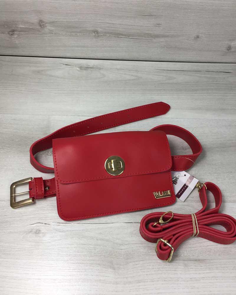 abba3db95083 Красная сумка-клатч на пояс 604 маленькая молодежная через плечо, фото 1
