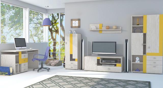 Детская комната Axel (дуб атланта / желтый)