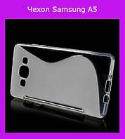 Силиконовый чехол для Samsung Galaxy A5, Galaxy A5 Duos - прозрачный S-образный!Опт
