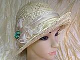 Річна капелюх з маленькими полями з натуральної соломки, фото 3