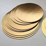 Подложка круглая под торт 36 см, золото/серебро