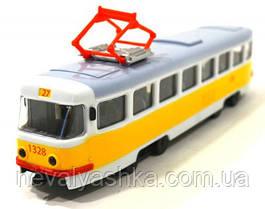 Трамвай Желтый металлический Автопарк инерционный, PLAY SMART 6411B, 008303
