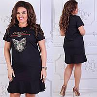 Женское черное платье под Гуччи Кот Батал, фото 1
