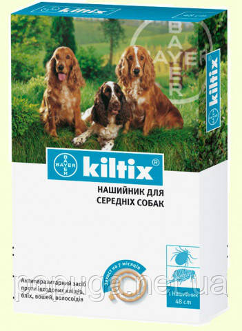 Bayer Kiltix (Килтикс) Ошейник от блох и клещей для средних собак, 48 см