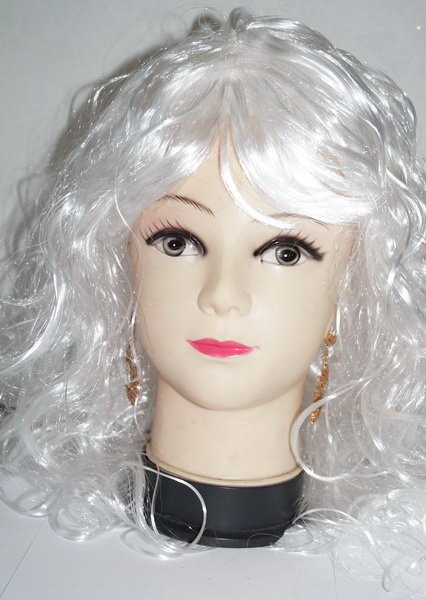 Белый кучерявый парик