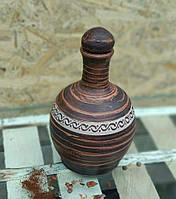 "Пляшка глиняна з кришкою ""Трипольє"" ангоб 0,7 л"