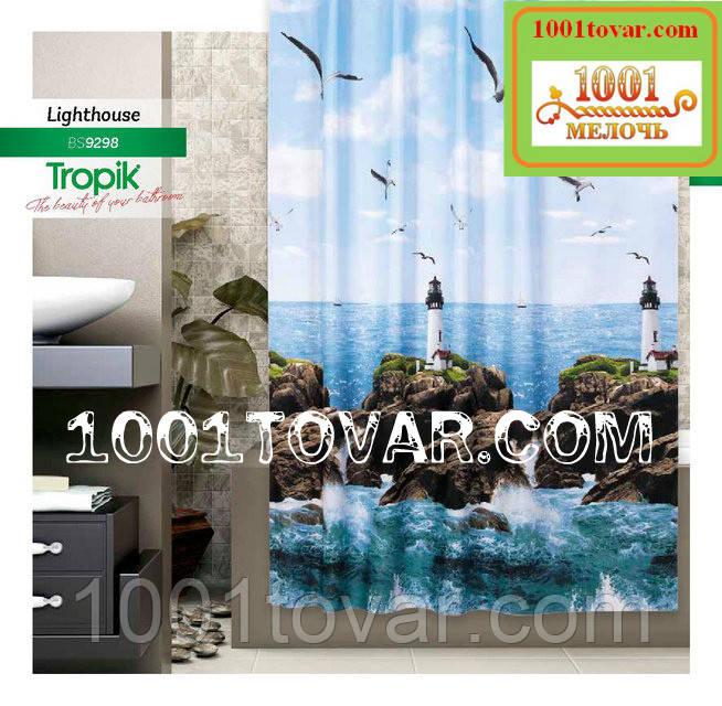 """Тканевая шторка для ванной комнаты из полиэстера """"Lighthouse"""" (маяк) Tropik, размер 180х200 см., Турция"""