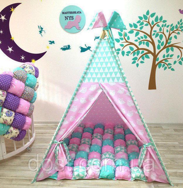 Детские палатки - вигвамы, комплекты в кроватку, кресло мешки, бортики-косички, пледы и конверты