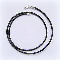 Браслет кожаный плетеный, черный, фото 1
