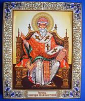 Святитель Спиридон Тримифутский. Олеография. Размер 200*250