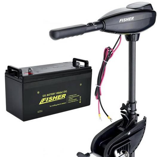 Лодочный электромотор Fisher 46 +GEL аккумулятор 150Ah (Комплект);