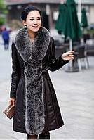 Женское кожаное пальто-плащ с мехом , фото 1