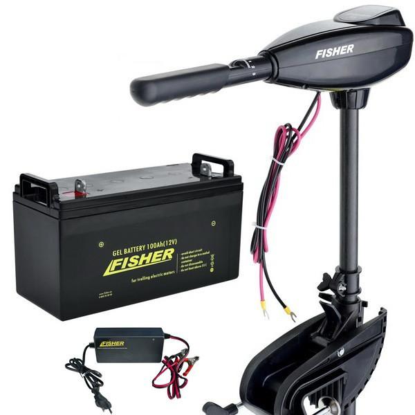 Лодочный электромотор Fisher 32 (Фишер 32) +GEL аккумулятор 100Ah +зарядка 10A (Комплект);