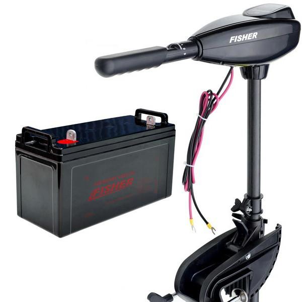 Лодочный электромотор Fisher 46 (Фишер 46) +AGM аккумулятор 100Ah (Комплект);