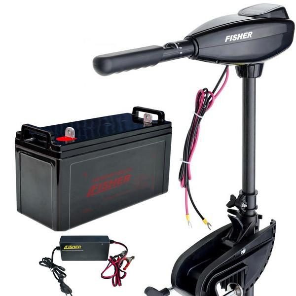 Лодочный электромотор Fisher 32 (Фишер 32) +AGM аккумулятор 120Ah +зарядка 10A (Комплект);