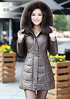 Кожаная куртка пуховик 4 цвета, фото 1