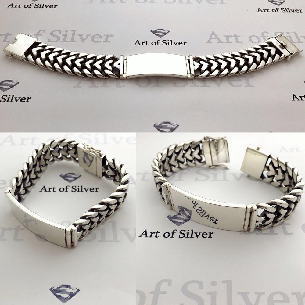 серебряный мужской браслет панцирь с пластиной под гравировку
