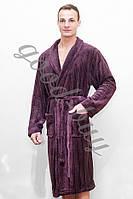 Халат мужской с воротником Classic фиолетовый