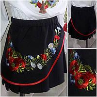 Нарядная вышитая юбка, цвет - черный, рост 116-146 см., 190/155 (цена за 1 шт. + 35 гр.)