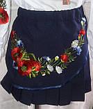 Детская юбка с вышивкой, темно синего цвета, рост 116-146 см., 200/165 (цена за 1 шт. + 35 гр.), фото 4