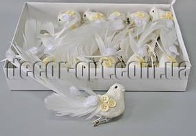 Птички из мешковины с пуговицами на клипсе 18см /1шт W13291