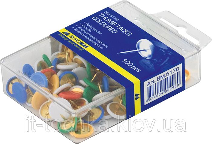 Кнопки цветные, пластиковое покрытие, 100шт. bm.5176