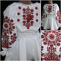 """Нарядная блуза с вышивкой """"Птица счастья"""" на поплине, девочке, 110-146 рост, 260/220 (цена за 1 шт. + 40 гр.), фото 1"""