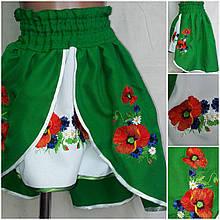 Детская вышитая юбка зеленого цвета, 2-12 лет, 210/260 (цена за 1 шт. + 50 гр.)