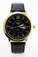 Мужские наручные часы Tissot (Тиссот), золотой корпус с черным циферблатом