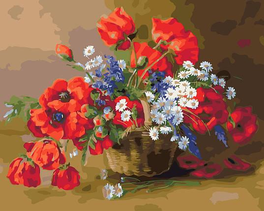 """Картина по номерам """"Корзина полевых цветов, фото 2"""