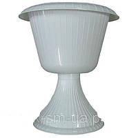 Вазон Гаваи конус на ножке белый диаметр 33 см 6,8 литров