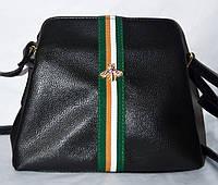 23e59177a0f9 Женская черная маленькая сумка Gucci Пчела с ремешком на 3 отдела внутри  24*22 см