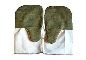 Перчатки рабочие однопалого xлопчатобумажные с брезентовым наладонником, огнеупорное покрытие - Virok