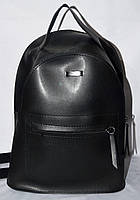 Женский молодежный черный рюкзак из эко-кожи 22*30 см, фото 1