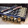 """Набор шампура ручной работы """"Кабан"""" с бронзовыми чарками в кейсе из натурального дерева"""