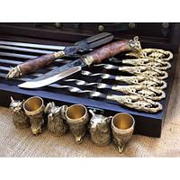"""Набор шампура ручной работы """"Кабан"""" с бронзовыми чарками в кейсе из натурального дерева, фото 1"""