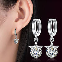 Серебряные серьги с цирконом в виде звезды, серьги с кольцом, серьги с яркими камнями