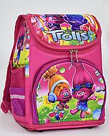 """Детский школьный рюкзак ортопедический 35х27х20см """"ТРОЛЛИ"""". Каркасный портфель, ранец для девочек. РОЗОВЫЙ."""