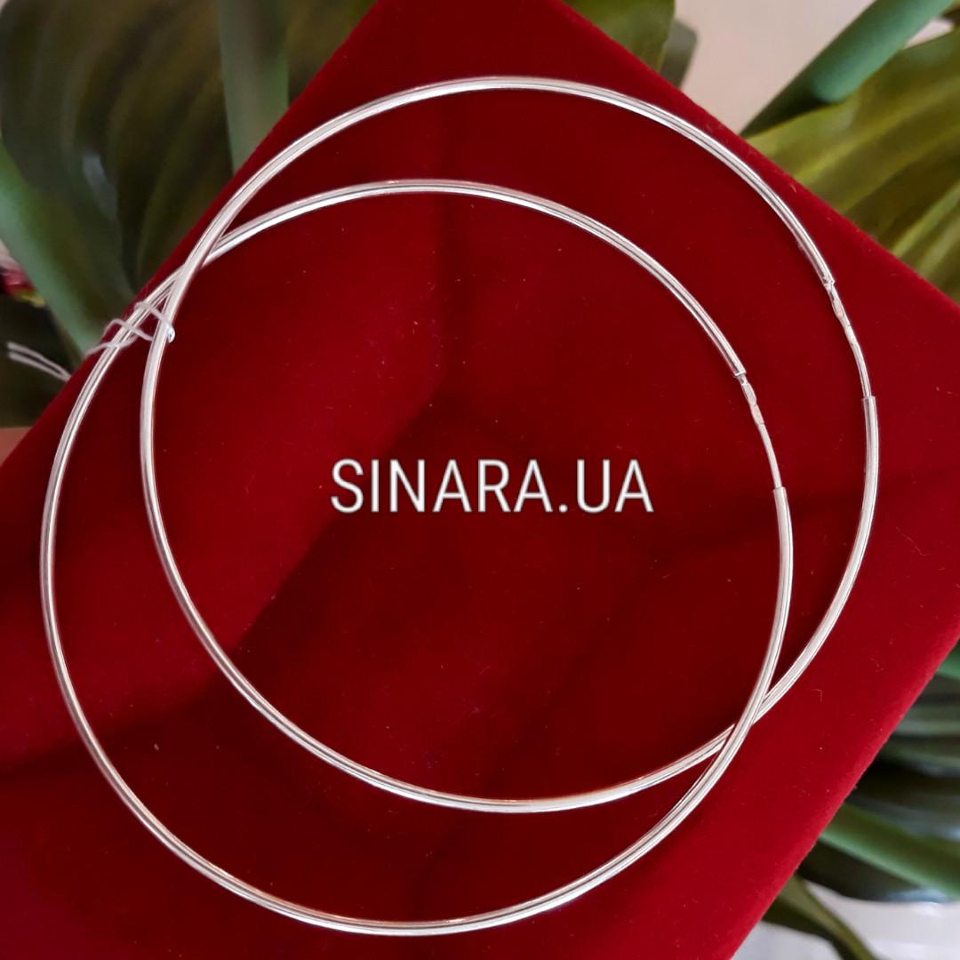 Большие серебряные родированные серьги кольца 70мм - SINARA.UA - Ювелирный  Дом в Киеве 63efb331b71