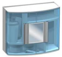Шкафчик в ванную голубой с зеркалом, код 09323