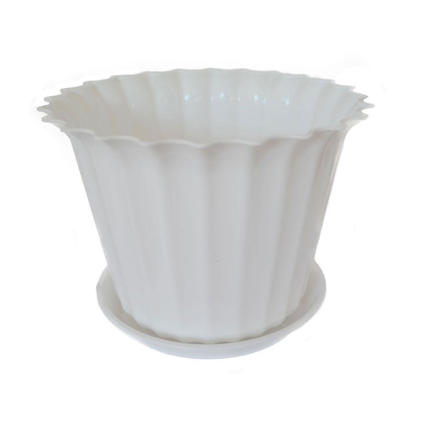 Горшок для цветов Астра с подставкой белый 13 см