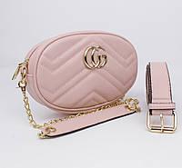 Клатч на цепочке, сумочка на пояс Gucci 20875-8 пудровая