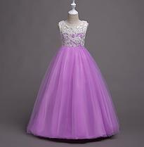 Платье сиреневое бальное выпускное длинное в пол нарядное для девочки в садик или школу