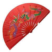 Веер для танца, для кунг-фу 34х64 см красный (А4997)